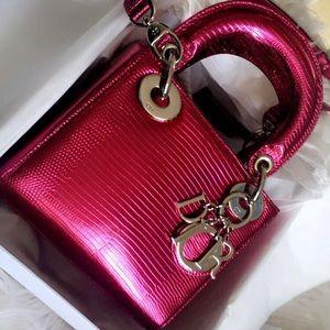 768bb834a7e9 Dior Lady Dior Anemone Metallic Lizard Bag